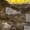 EL ORIGEN DEL LAGO TITICACA. (Libro escrito por el autor Tomás Quispe a publicarse por la Reforma Educativa) Detalle. Dibujo sobre metal tinta blanca, acuarela y collage (2003).